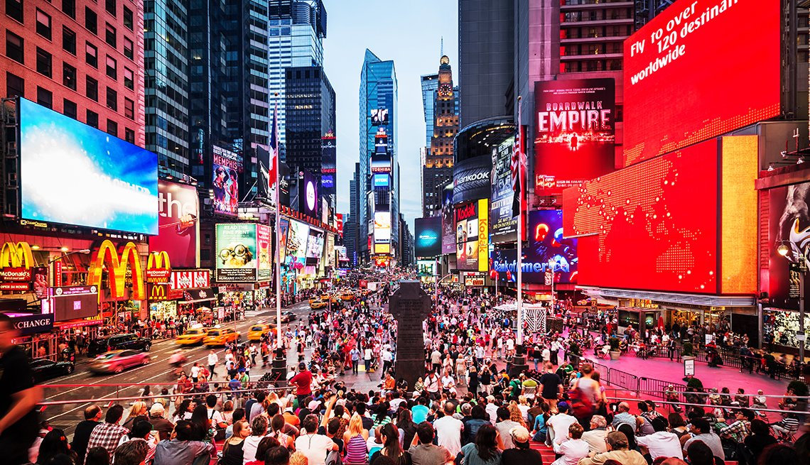 Times Square in New York Crowded with People, Hidden Wonders at American Attractions