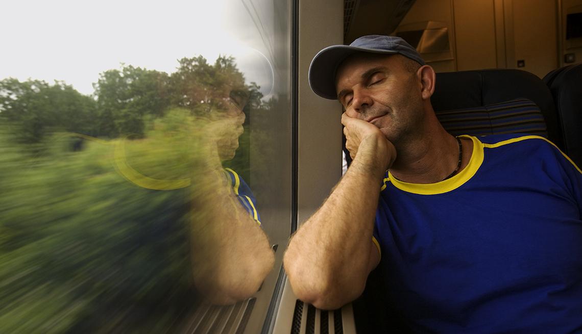 Caucasian Man Asleep On Moving Train, How To Avoid Jet Lag
