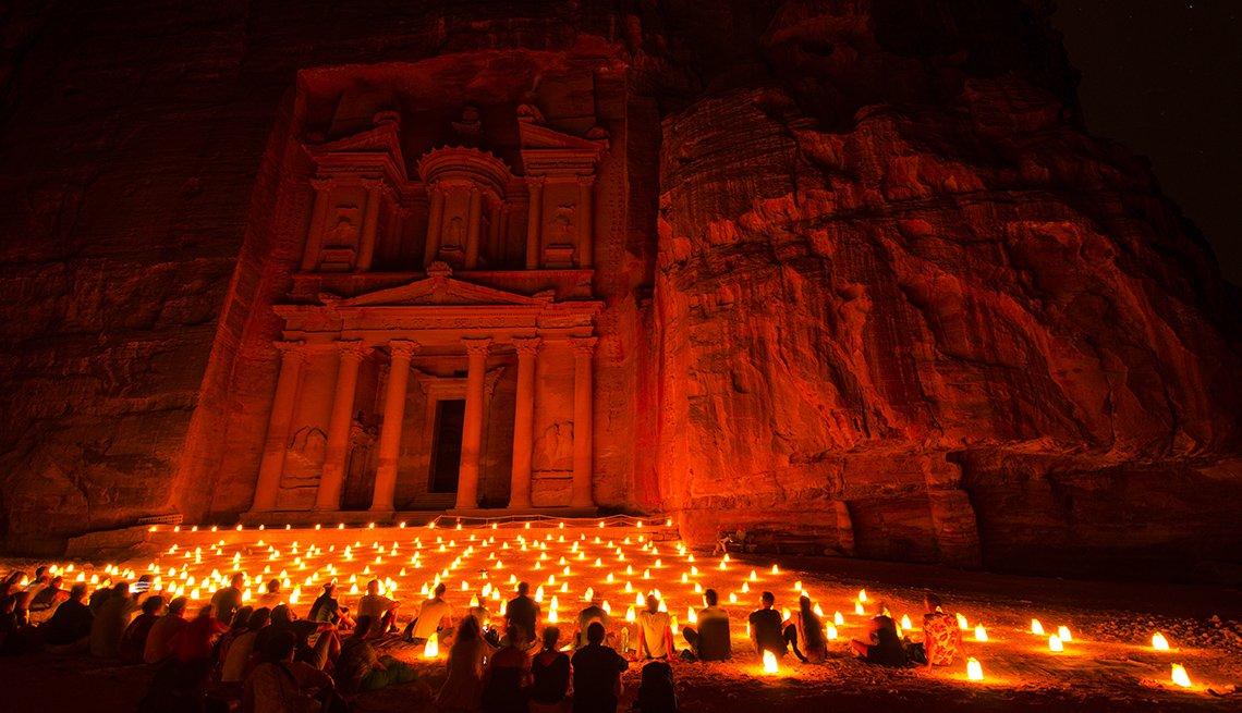 Petra Jordan With Visitors And Candles At Night, International Ruins