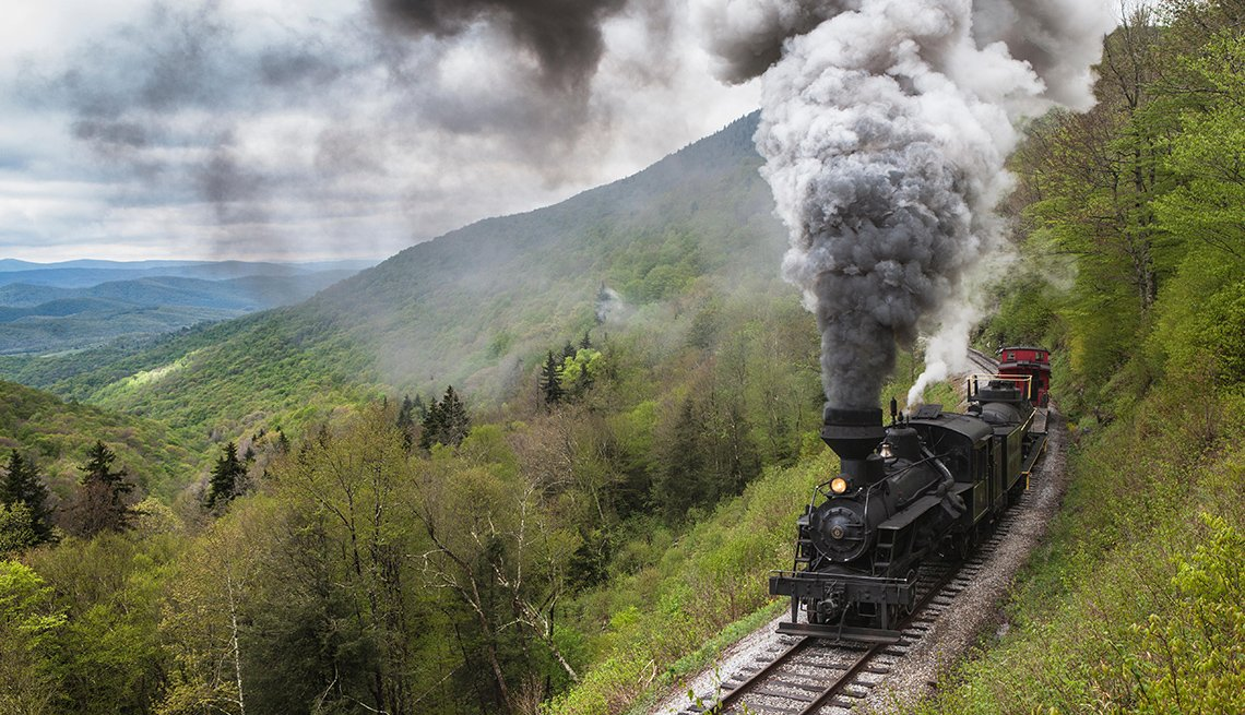 Train Cuts Through The Mountains On The Cass Scenic Railroad, Scenic Railways