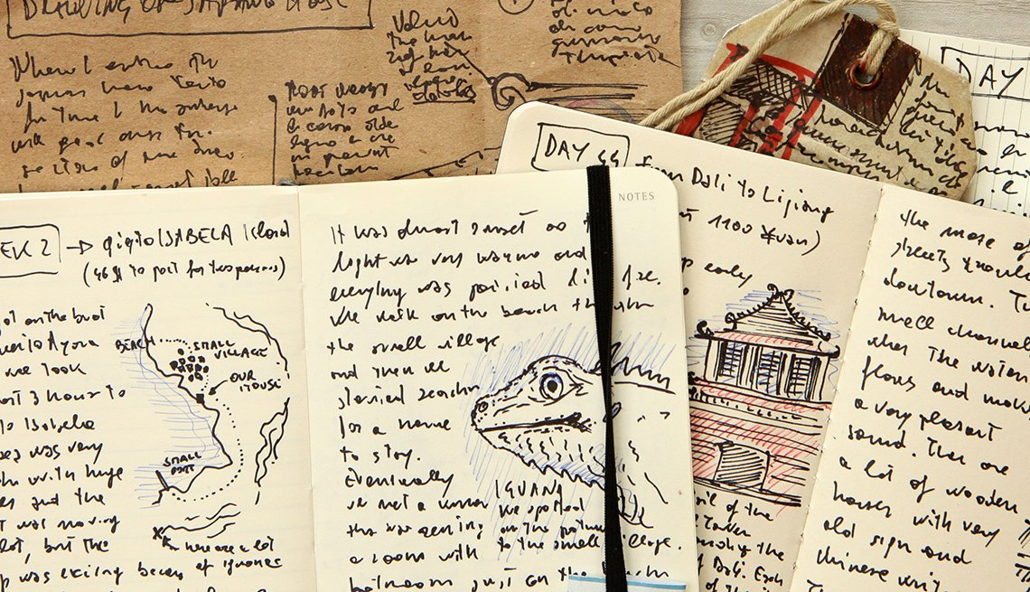 Various Travel Journals With Entries, Gifts For Travelers