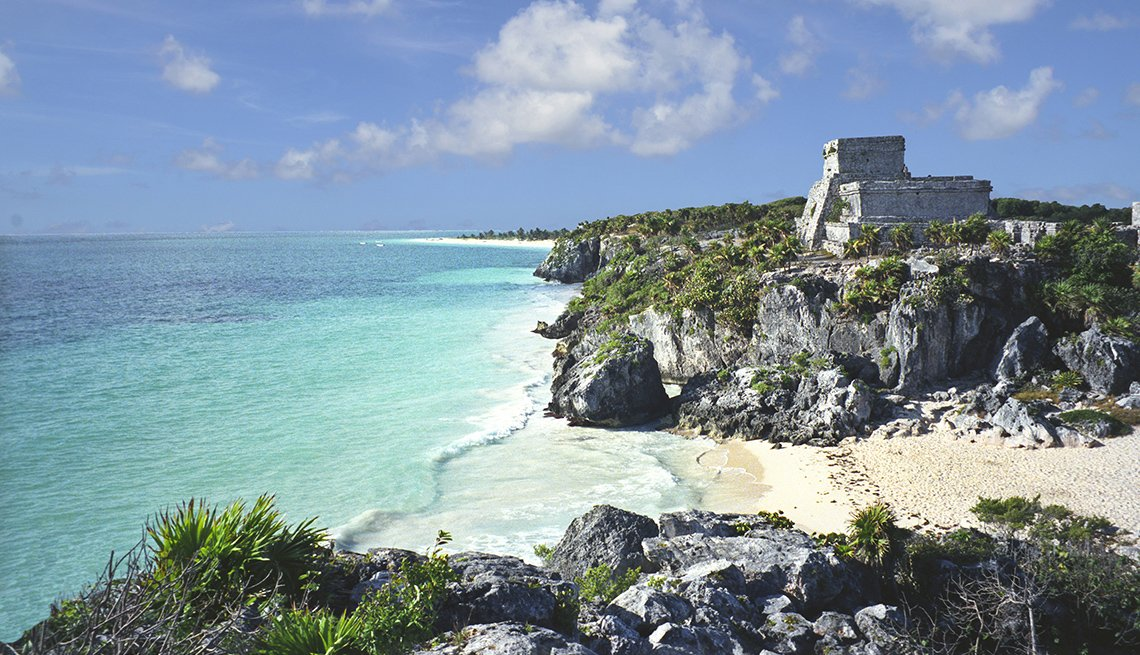 The Ruins Overlooking The Beach And Ocean In Tulum Mexico, International Ruins