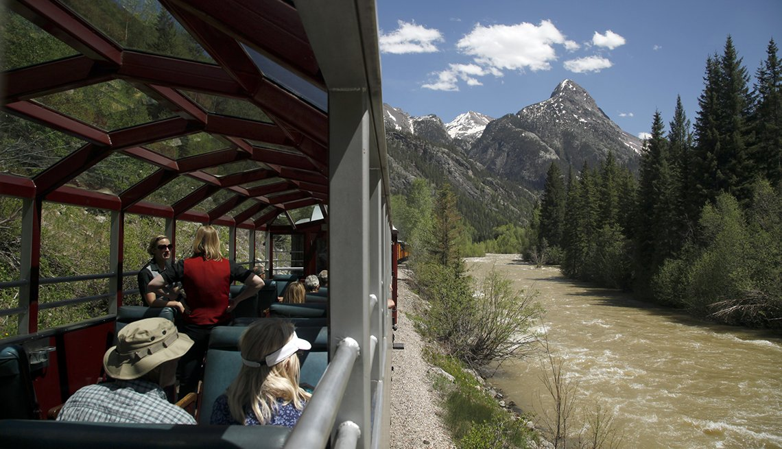 Open Rail Cars On The Durango And Silverton Train Line Through Colorado, Scenic Railways
