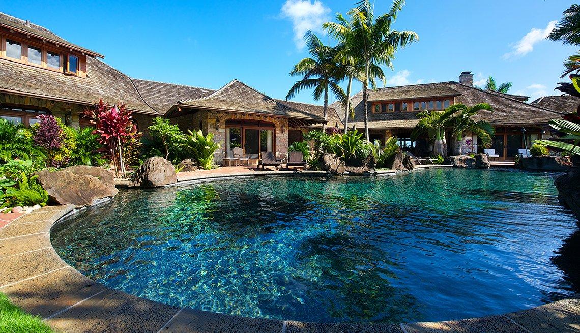 Piscina en casa de alquiler en Hawaii