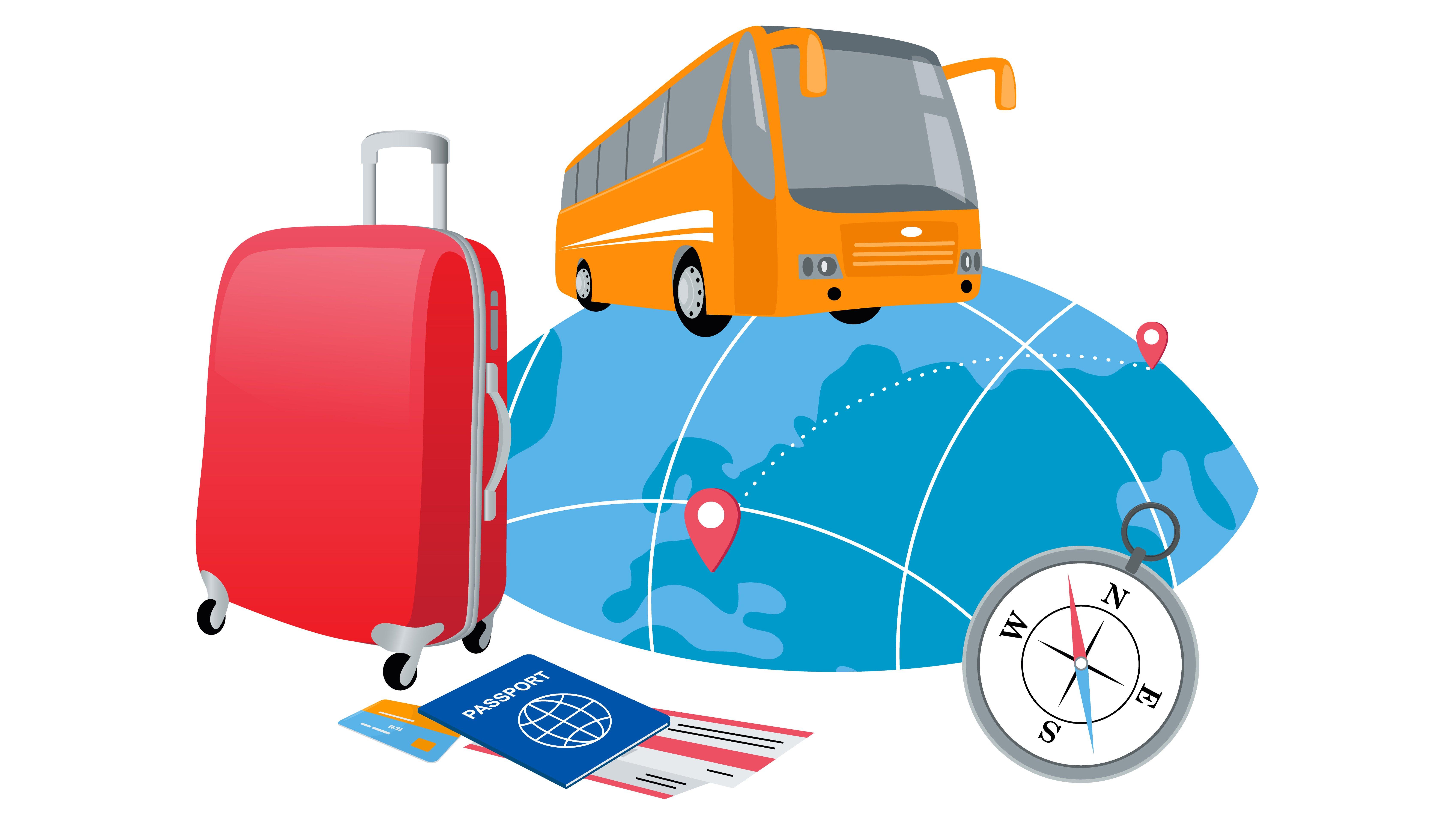 Imagen conceptual en 3D de un autobús, una maleta y un pasaporte para viajar al rededor del mundo.
