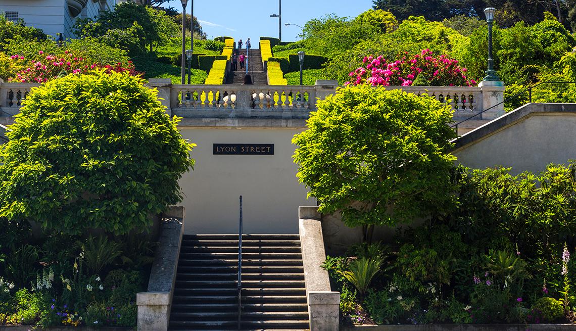 La escalera de la calle Lyon en San Francisco, CA.