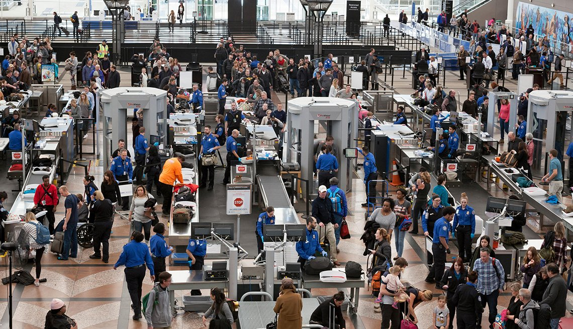 long TSA lines at Denver International Airport