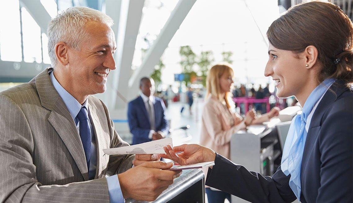 Air Traveler Getting Ticket