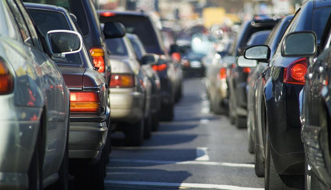 cars stuck in bumper to bumper traffic