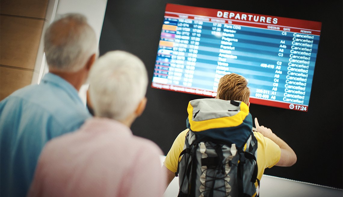 Closeup rear view of group of people looking at arrival departure board at the airport