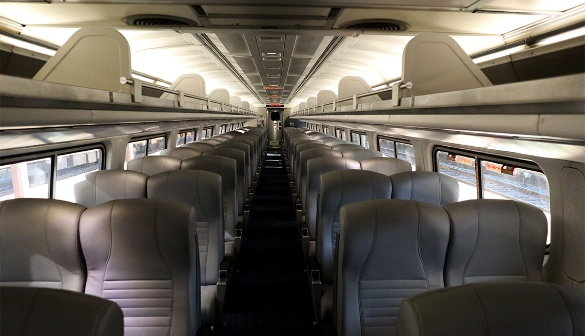 An empty Amtrak car is shown pulling out of Union Station