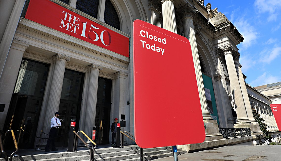 A closed sign is seen outside of The Metropolitan Museum of Art on March 13, 2020 in New York City. Due to the ongoing threat of the coronavirus (COVID-19) outbreak
