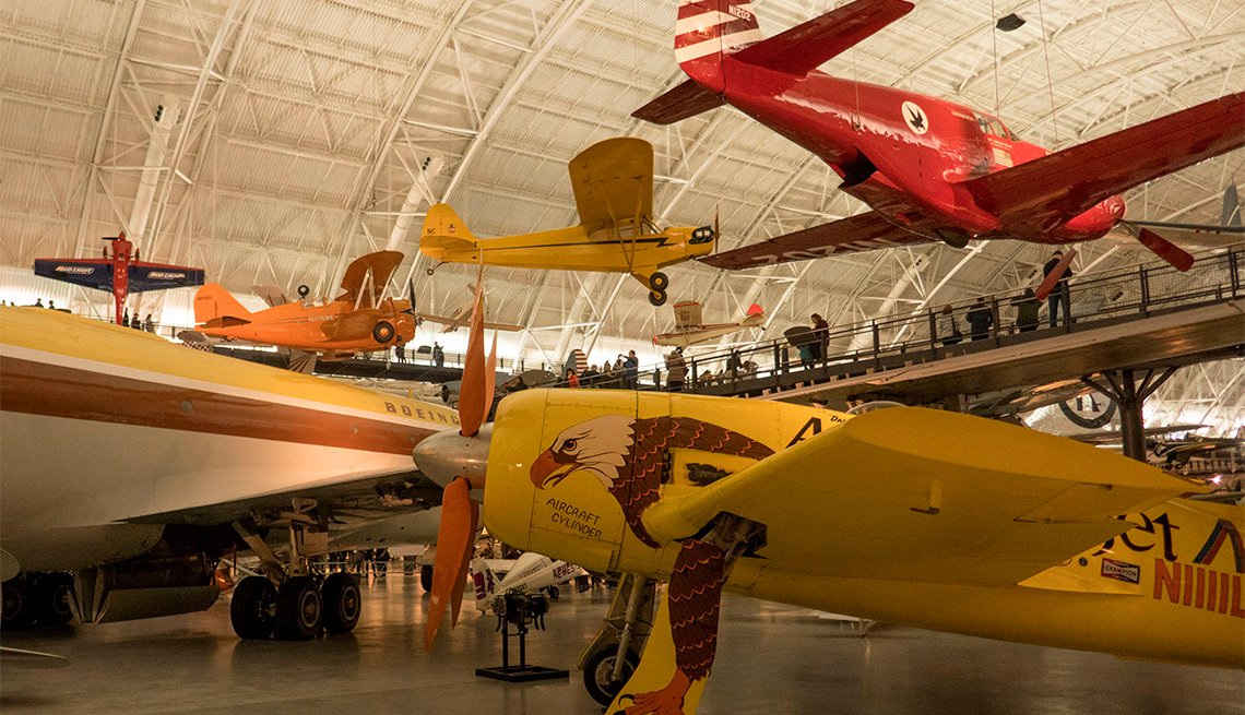 Planes on display in the Udvar-Hazy Air and Space Museum