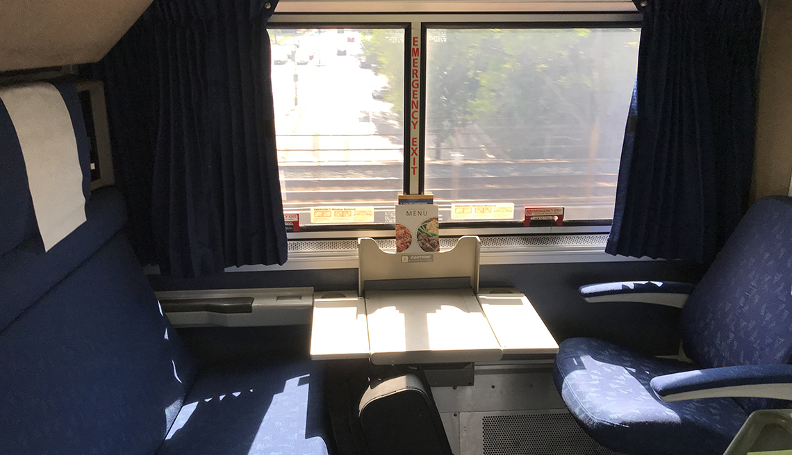 two bedroom space on Amtrak train