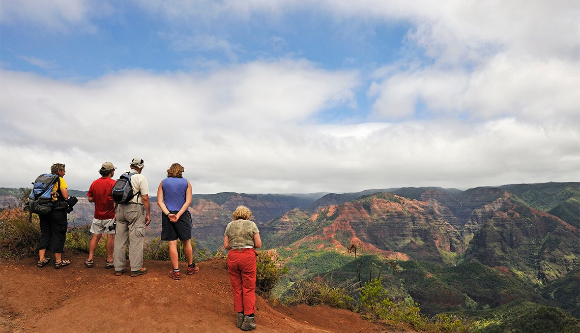 People viewing Waimea canyon, in Kauai Island, Hawaii Islands