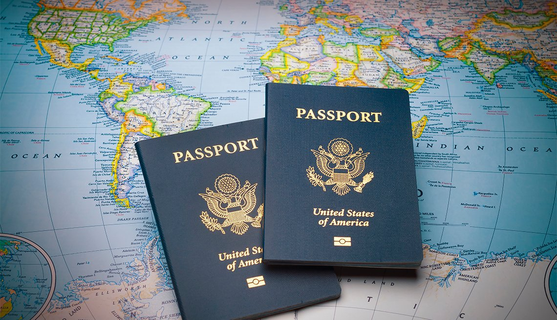 Passports on a map of the world