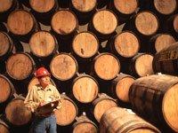 Trabajador chequea los barriles de tequila en la destilería Jose Cuervo en México