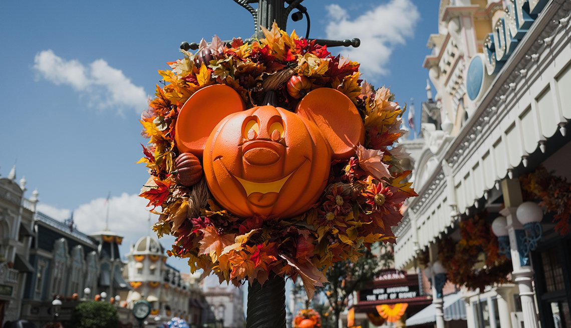 Disney park decorated for fall