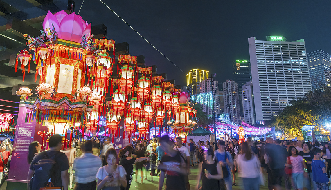 item 10 of Gallery image - lanterns displayed at night during Mid-Autumn Festival - Hong Kong