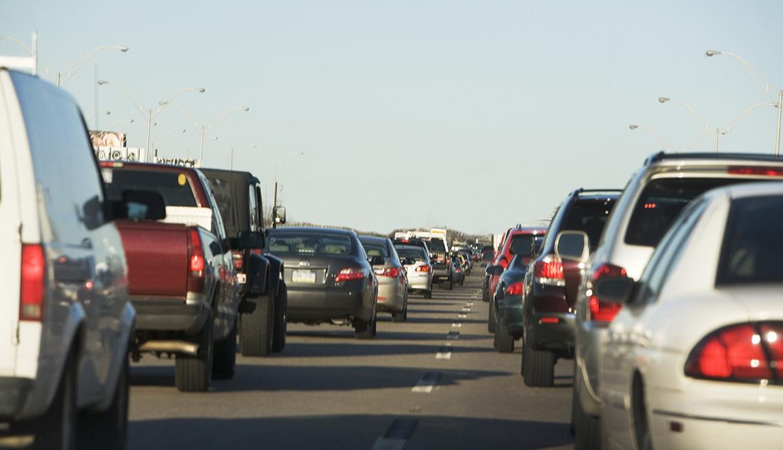 cars stuck in traffic