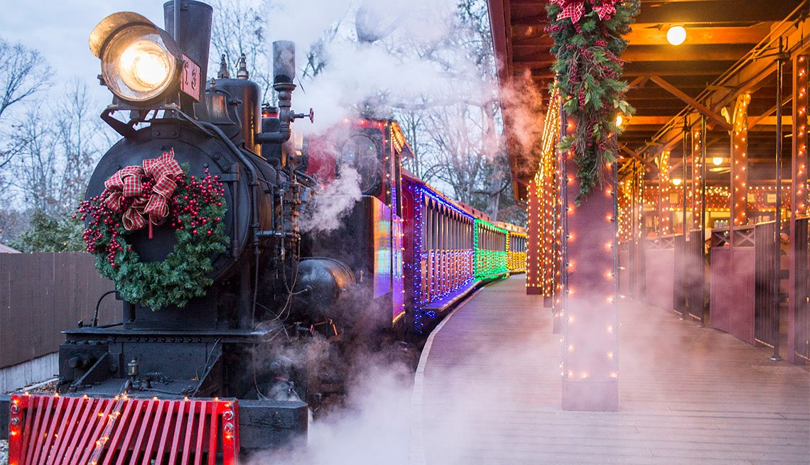 Silver Dollar City's Steam train decorated for the holiday season