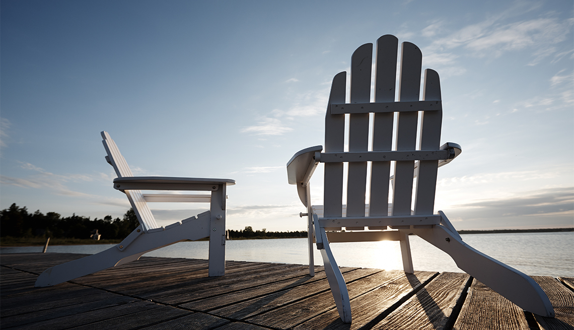 beach chair on a deck along shore in Door County