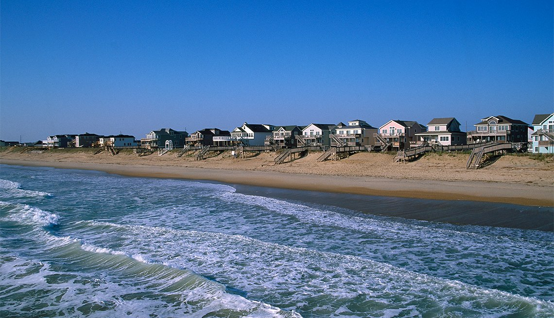 Casas frente al mar en Nags Head, Carolina del Norte.