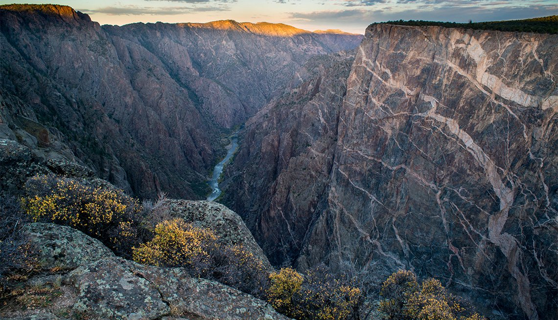 Sunrise over Gorge and Amelanchier, Gunnison River, Black Canyon National Park, Colorado.