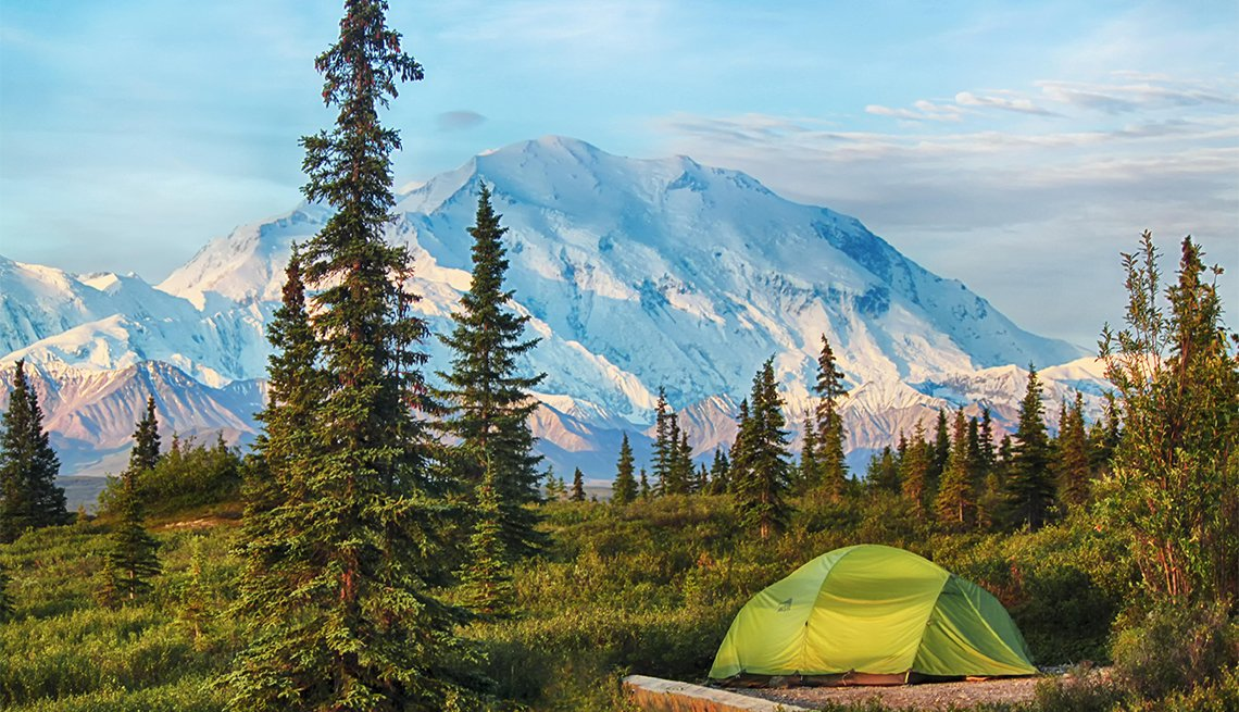 Tent camping at the wonder lake campground in Denali National Park