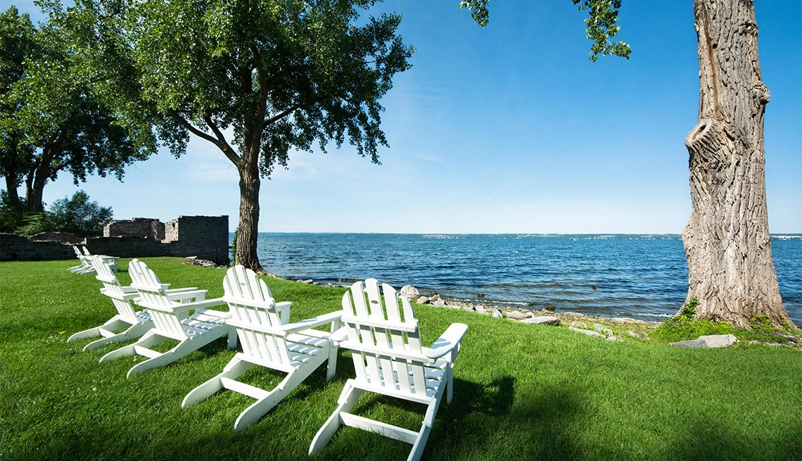 Adirondack chairs for relaxing along the shoreline of Cayuga Lake, Aurora, New York