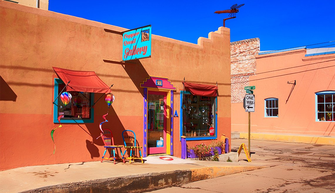 Outside the Cooper Quail Gallery on the corner of W Yankie and N Texas Street in downtown Silver City NM