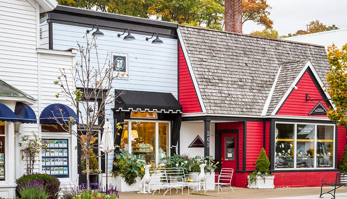 Downtown shops and stores in Harbor Springs, Michigan