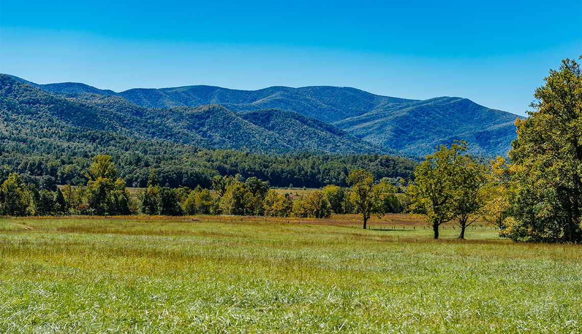 Great Smoky Mountains National Park as seen from Cades Cove, a narrow valley near Townsend, Tennessee