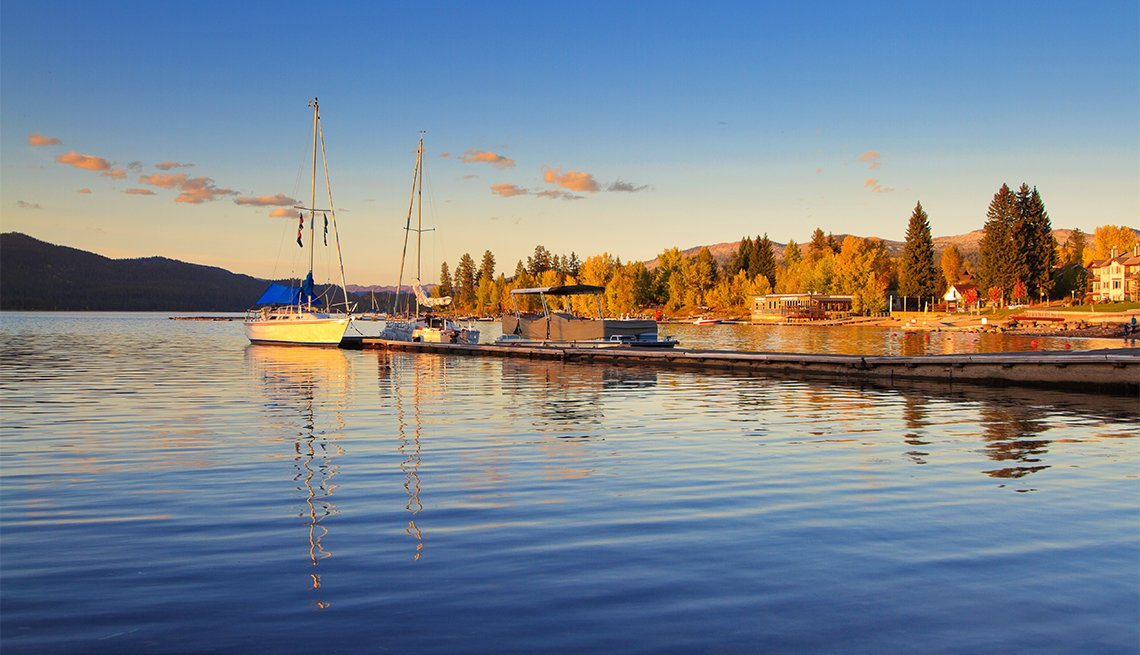 item 5 of Gallery image - Autumn sunset over main marina area in central McCall, Idaho, a popular mountain tourist destination town on the shores of Payette Lake