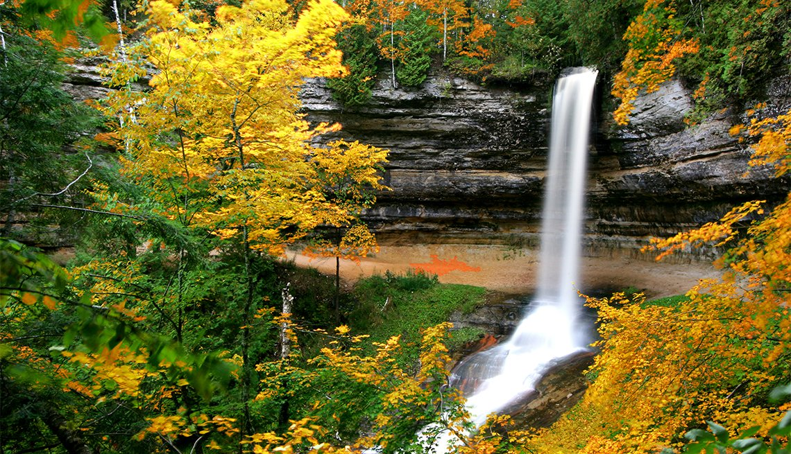 item 3 of Gallery image - Munising Falls on a cloudy morning
