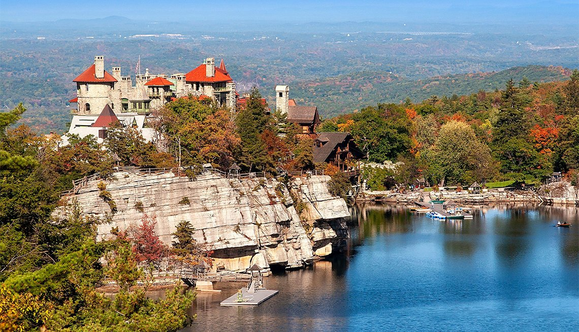 Mohonk Mountain House, nestled in the mountains in Ulster County