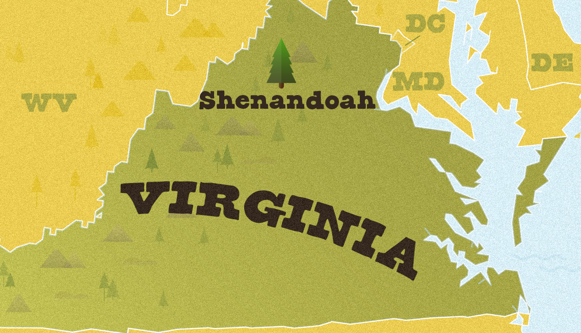 map of virginia with location of shenandoah national park marked