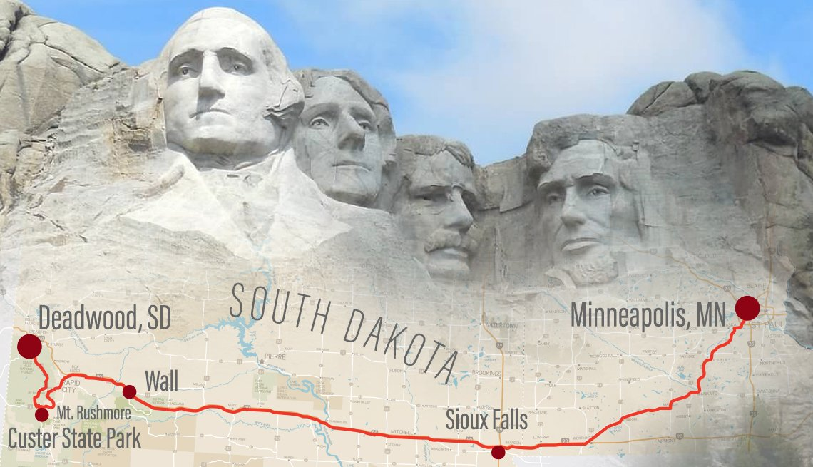 map of road trip route from minneapolis minnesota to deadwood south dakota