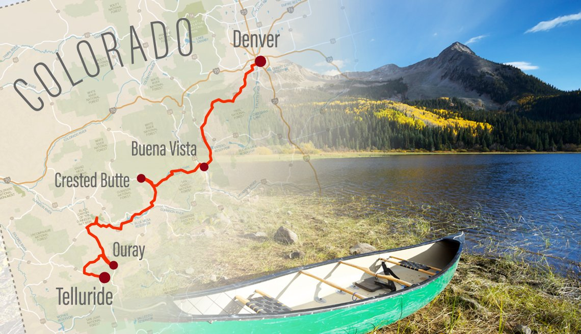 combined image of a map of colorado with a road trip form denver to telluride highlighted and a photo of a mountain lake from along the route