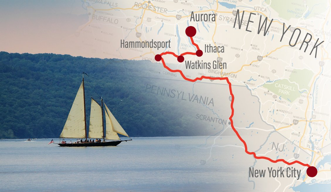 Upstate New York road trip map
