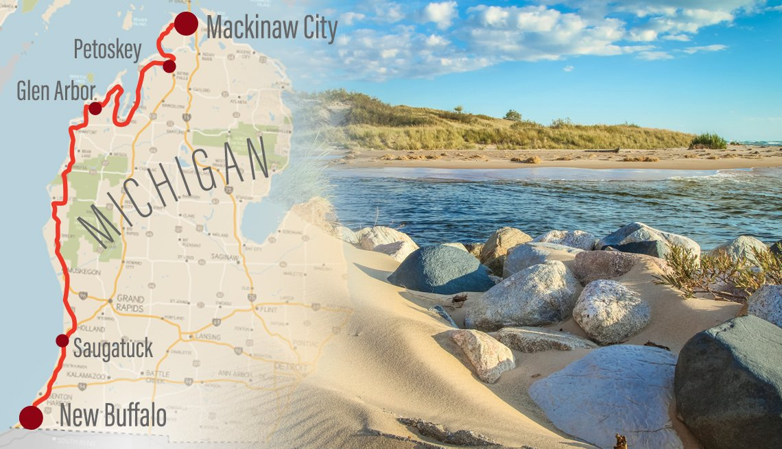 combined image of a map of michigan with the route of a road trip up the west coast highlighted and a photo of a lake beach from along the route