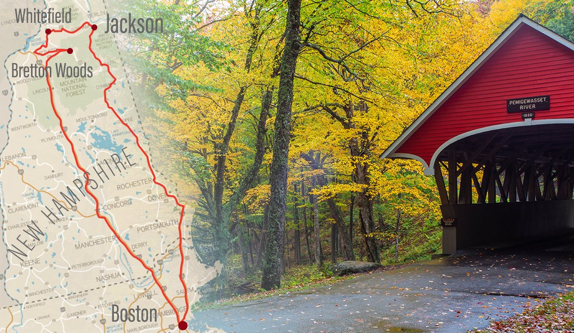 collage image of an old fashioned covered bridge surrounded by fall foliage and a road map of new hampshire with a road trip route highlighted