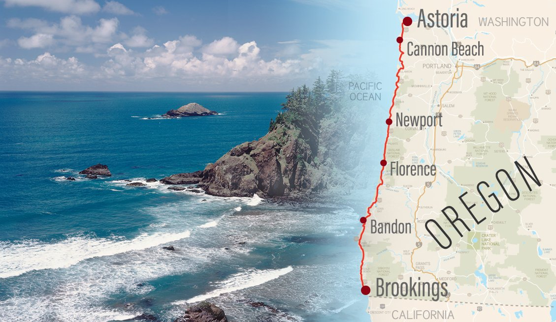road map of oregon with a route and city stops highlgihted superimposed with a dramatic photo of the oregon coast