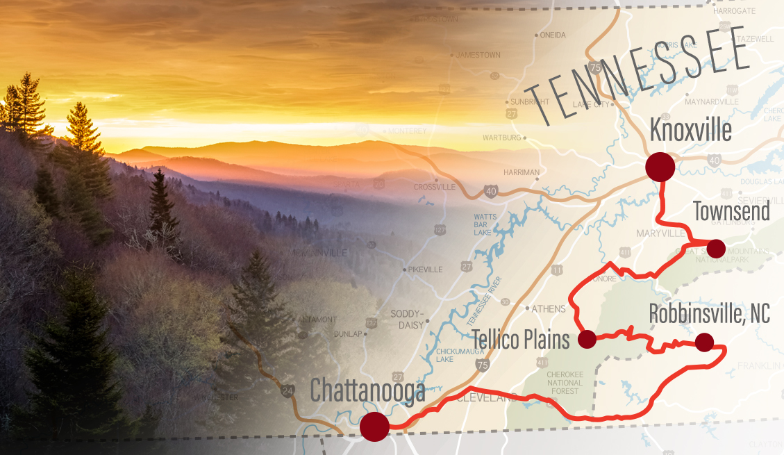 road trip map of tennessee with destinations marked
