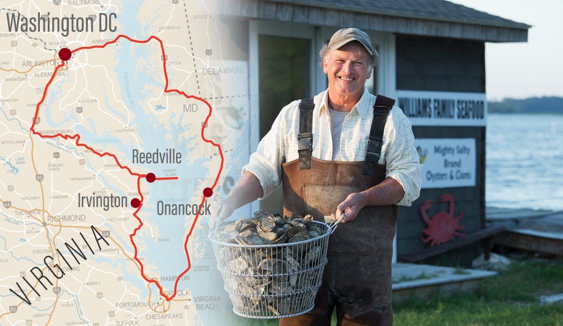 road trip map of virginias northern neck collaged with a photo of a fisherman holding a bushel of oysters on the chesapeake bay