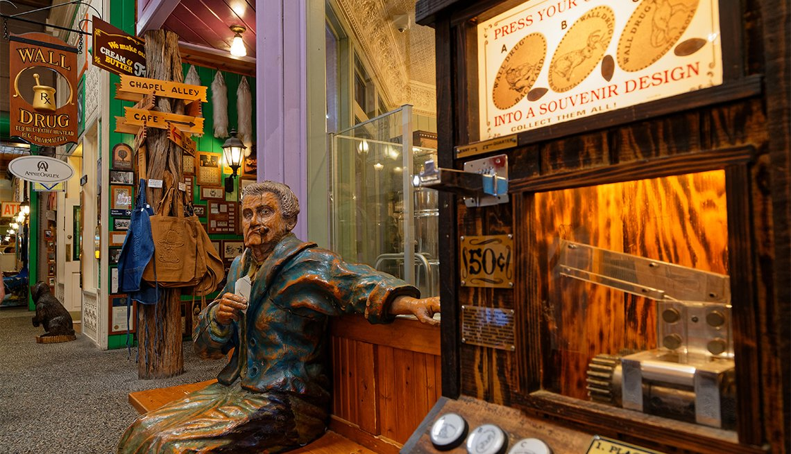 Inside the Wall Drug Store, both a drugstore and a touristic attraction in the town center of Wall, South Dakota