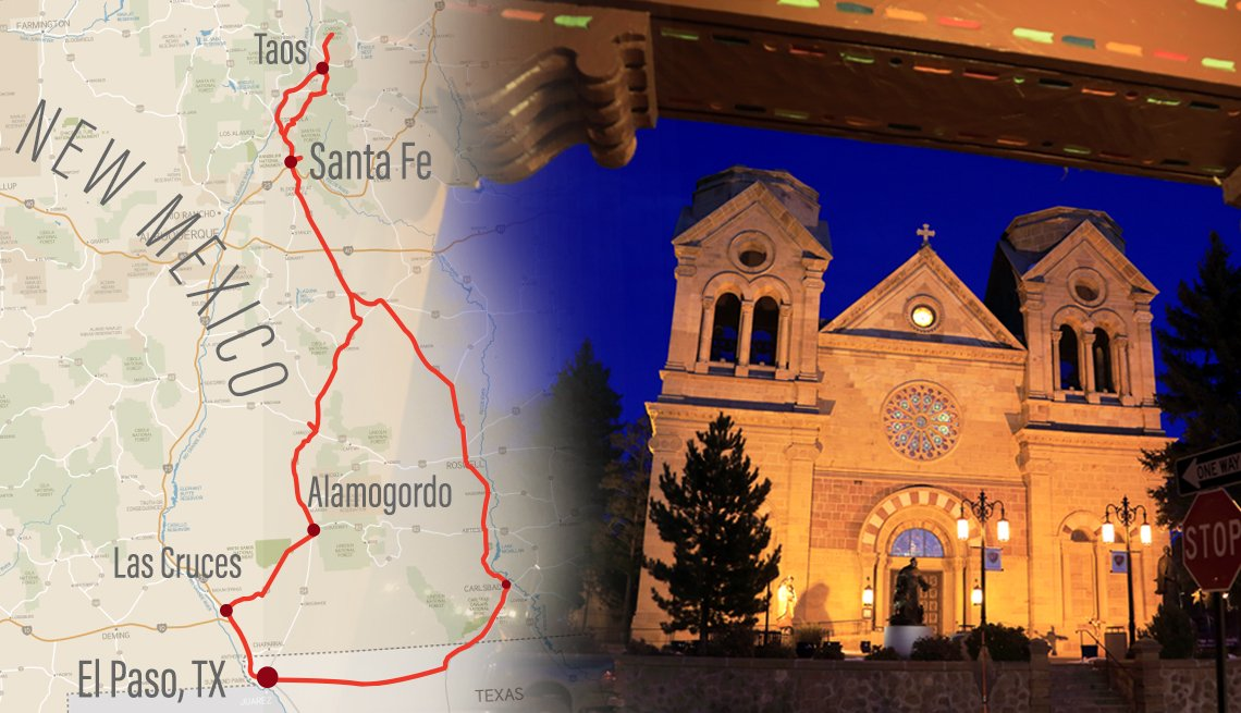 map of new mexico road trip over a photo of downtown santa fe at night