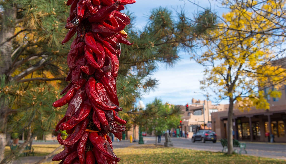 The lampposts at the Santa Fe Plaza, which is a National Historic Landmark in downtown Santa Fe