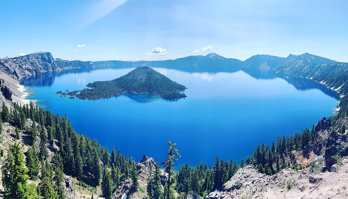 aerial view of Crater Lake during summer