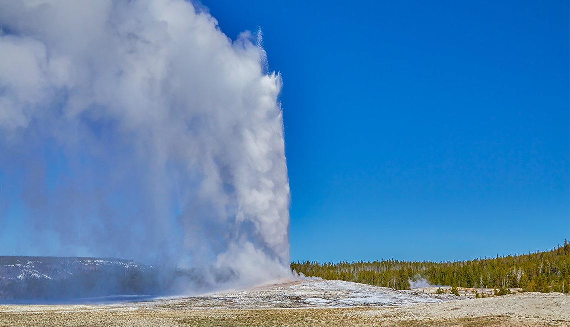 Old Faithful Geyser erupting at Yellowstone